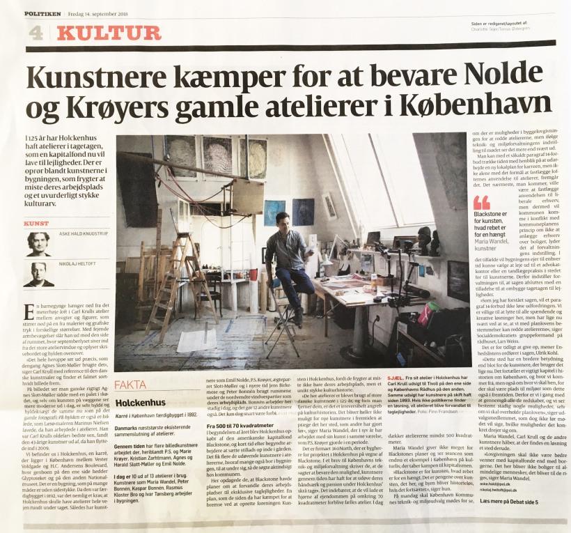 Politiken_Holckenhus_Artilkel_Kunstnere-kæmper-for at bevare-Nolde-ogKrøyers-gamle-Atelierer-i-København_foto_Carl_Krull_i_Atelier_Kultur
